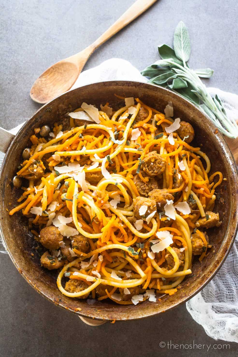 Butternut Squash, Sausage, and Sage Pasta | The Noshery