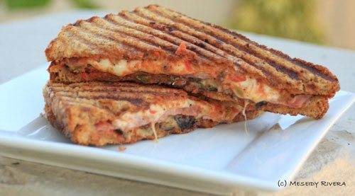 Grilled Eggplant Panini with Tomato Olive Spread