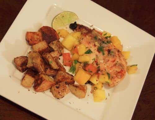 Jerk Chicken with Mango Salsa and Roasted Potatoes