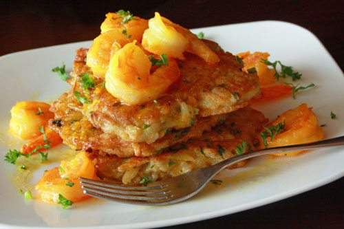Shrimp Scampi over Rice Tortitas