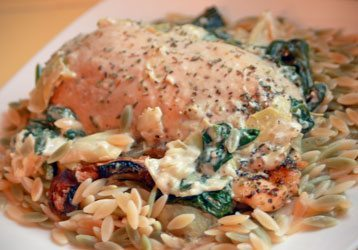 Spinach Artichoke Chicken with Orzo Pasta