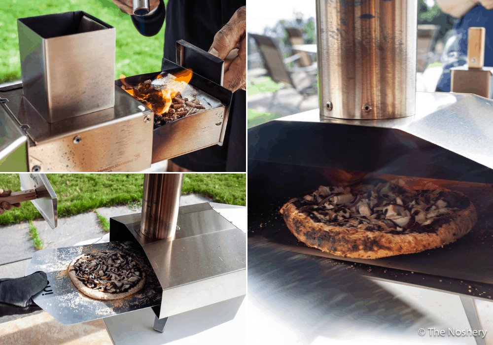 Collage of pizza cooking in portable wood-fire oven