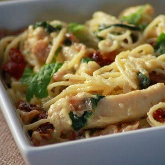 Creamy Angel Hair Carbonara with Chicken
