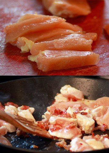 Add chopped chicken to skillet