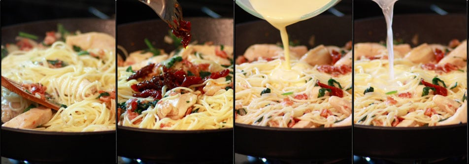 Add, spagetti, sun-dried tomatoes, egg mixture & pasta water