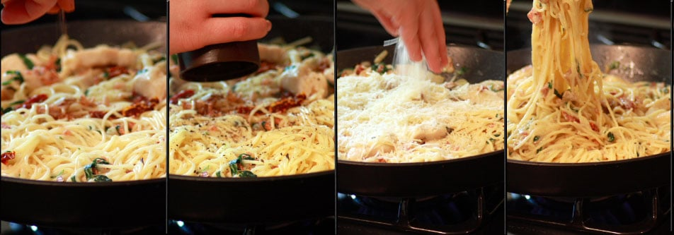 Add, nutmeg, pepper & cheese. Toss and evenly cover pasta with sauce.