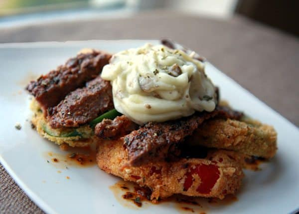 Creole Rib Eye Steak with Bell Pepper Rings