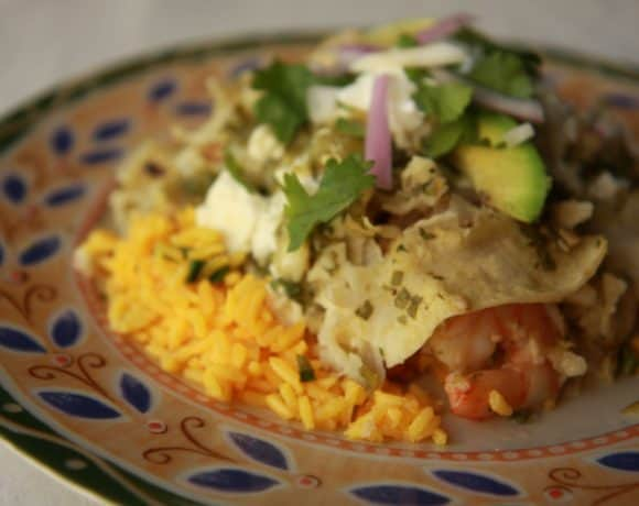 I Got the Cover: Shrimp and Cotija Enchiladas with Salsa Verde
