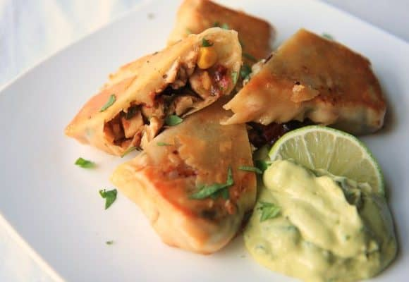 Southwest Eggrolls with Avocado Creme Dip