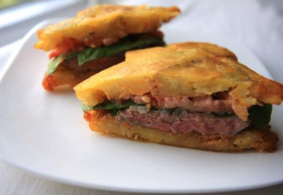 El Jibarito (Plantain and Steak Sandwich)