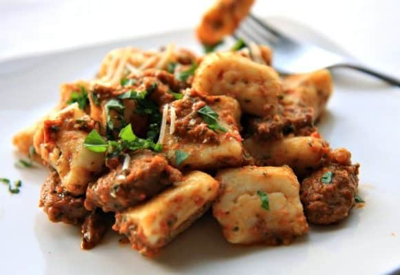 Ricotta Gnocchi with Sausage and Roasted Red Pepper Pesto