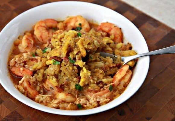 Mofongo con Sopa de Mariscos (Plantain Mash and Seafood Soup)