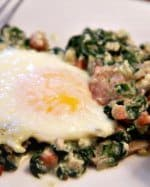 Baked Eggs with Spinach, Mushrooms and Pancetta
