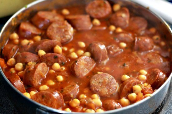 Garbanzos with Smoked Chorizo