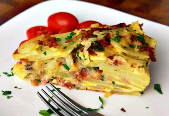 Salami and Cheese Spanish Tortilla