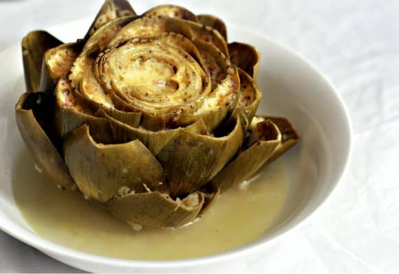Stuffed Artichoke Braised in White Wine