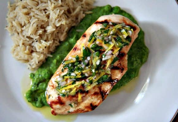 Grilled Chicken with Lemon Salsa and Mint Pea Puree