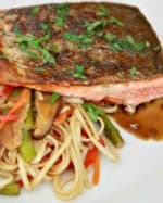 Crispy Honey Soy Glazed Salmon & Asian Noodles