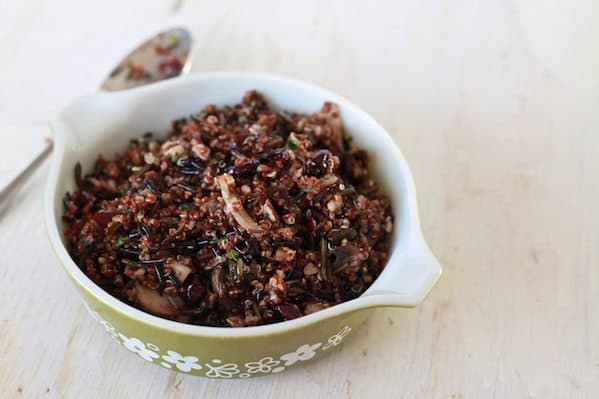 Wild Rice and Quinoa Salad with Mushrooms, Cranberries and Pecans