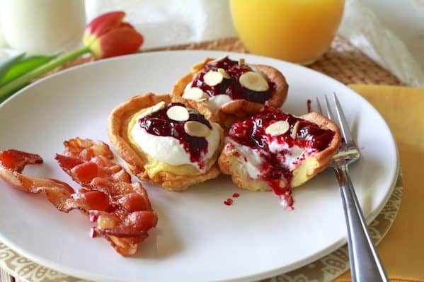Dutch Pancakes with Cherries & Almond Ricotta Mousse