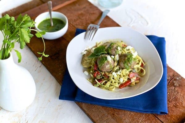 Lamb Meatballs & Mint Pesto Pasta.  It's Greek spagetti & meatballs.