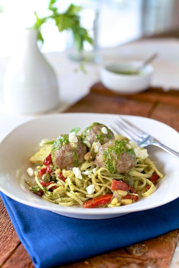 Lamb Meatballs & Mint Pesto Pasta. It's Greek spaghetti & meatballs | TheNoshery.com - @thenoshery