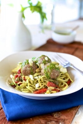 Lamb Meatballs & Mint Pesto Pasta. It's Greek spaghetti & meatballs | TheNoshery.com - @thenoshery
