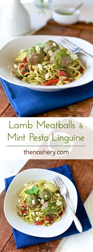 Lamb Meatballs & Mint Pesto | Lamb meatballs over pasta with mint pesto is a Greek twist on the familiar spaghetti and meatballs comfort food. | TheNoshery.com - @thenoshery