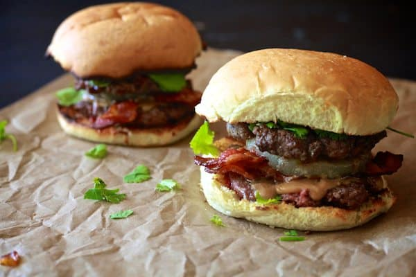 Thai Peanut Butter Bacon Burger | TheNoshery.com - @thenoshery