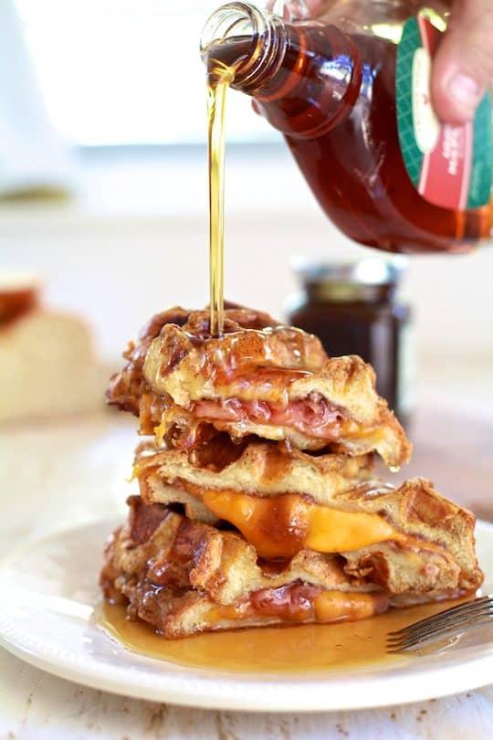Ham & Cheese Stuffed French Toast Waffles | TheNoshery.com - @thenoshery