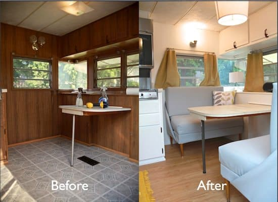 vintage camper turned glamper diy renovation the noshery. Black Bedroom Furniture Sets. Home Design Ideas