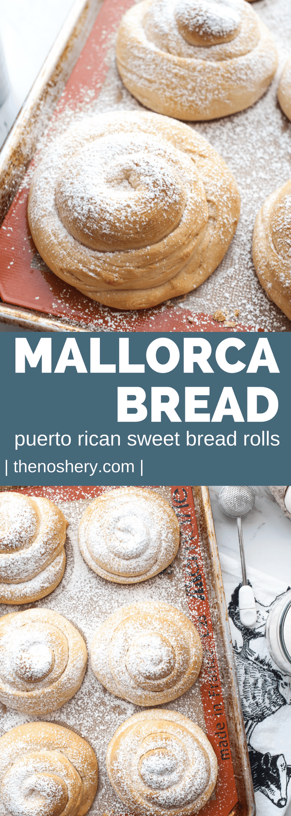 Mallorca Bread: Puerto Rican Sweet Bread Rolls (Pan De Mallorca) | Mallorca bread is Puerto Rican sweet rolls. They are plump, fluffy, buttery rolls dusted with powdered sugar. The perfect compliment to a cup of coffee. | The Noshery