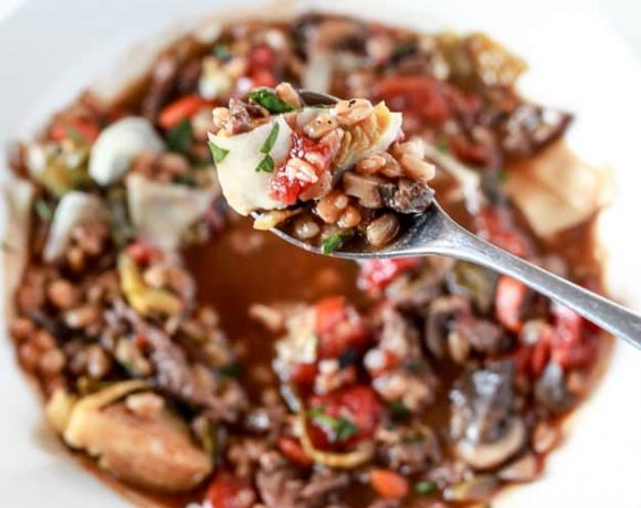 Rustic Beef, Mushroom and Farro Soup with Homemade Beef Stock
