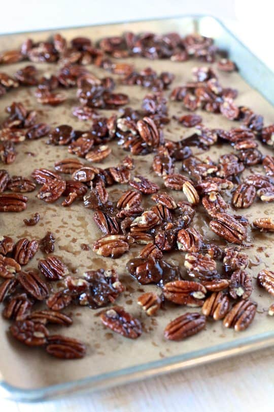 Bourbon Pecan Pie Chocolate Donuts - TheNoshery.com