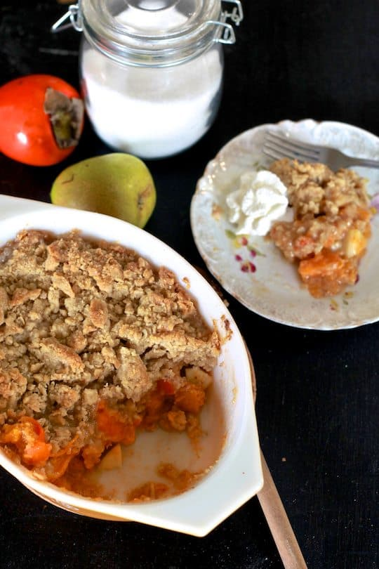 Persimmon and Pear Crumble
