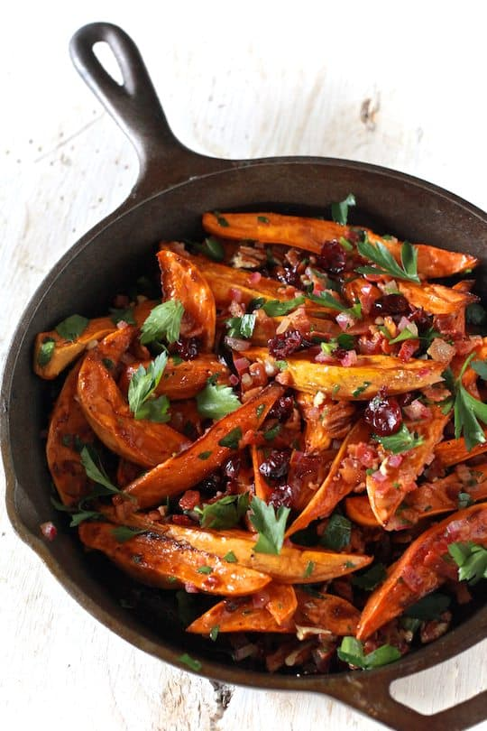 Roasted Sweet Potato Salad With Warm Bacon Apple Cider Dressing - TheNoshery.com