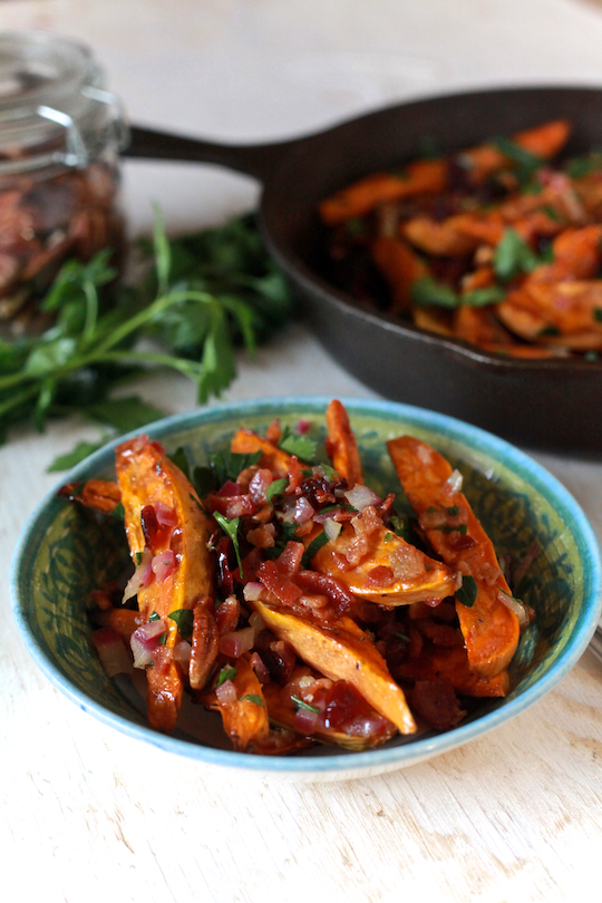 Sweet Potato Salad with Warm Bacon Dressing
