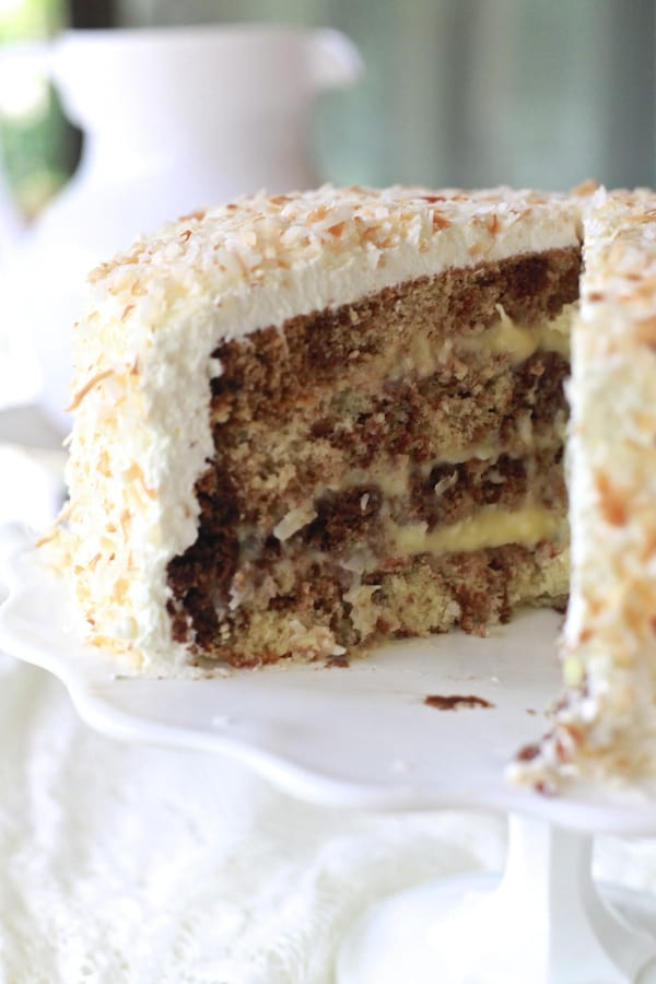 Chocolate Coconut Cream Layered Cake
