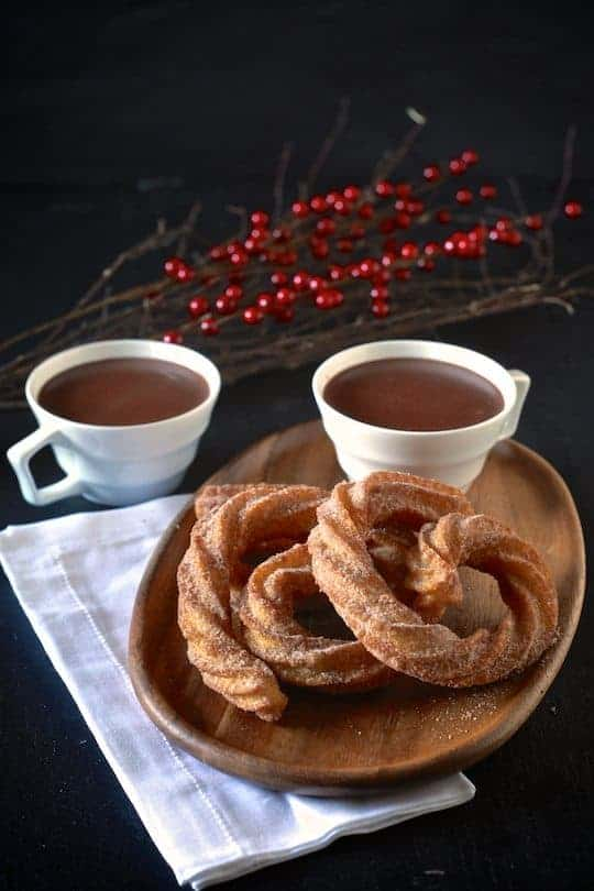 Spanish Hot Chocolate and Coconut Churros | TheNoshery.com - @thenoshery
