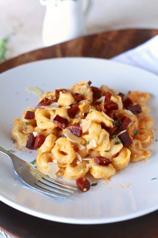 Tortellini with Chorizo and Orange Scented Sweet Potato Sauce