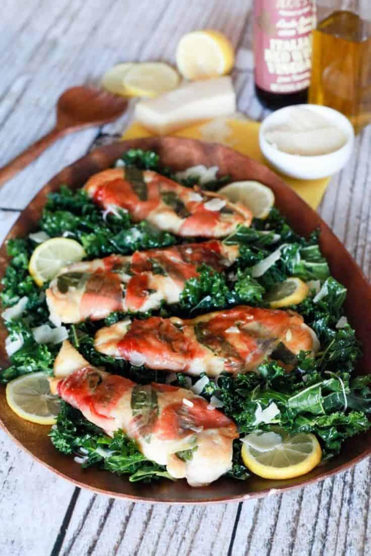 Lemon Chicken Saltimbocca with Massaged Kale Salad