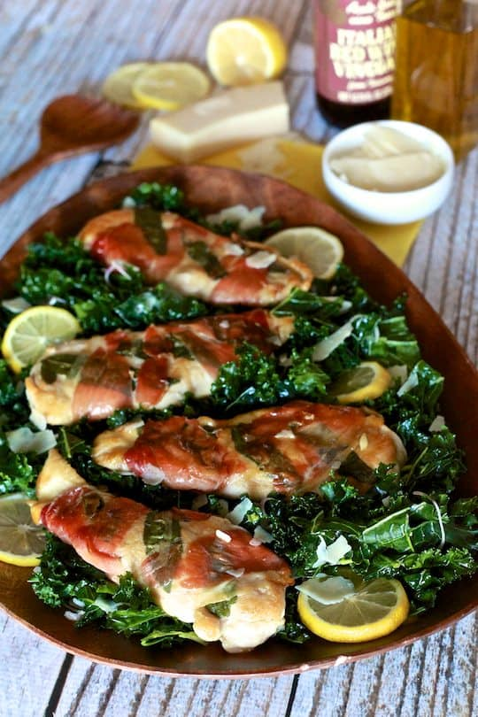 Chicken Saltimbocca with Massaged Kale Salad