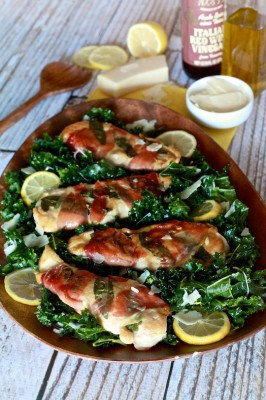 Healthy Lemon Chicken Saltimbocca with Massaged Kale Salad