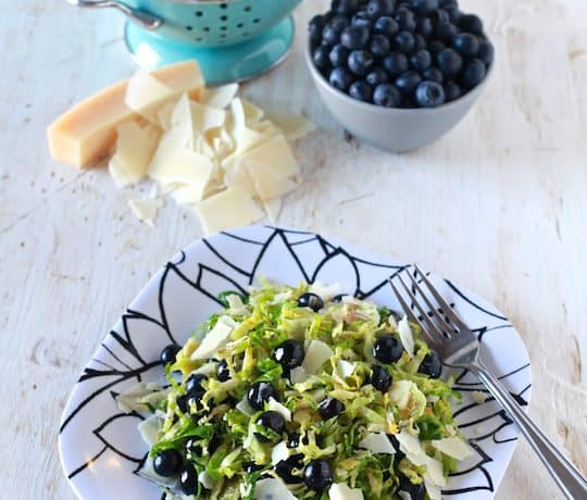 Warm Shaved Brussels Sprouts & Blueberry Salad