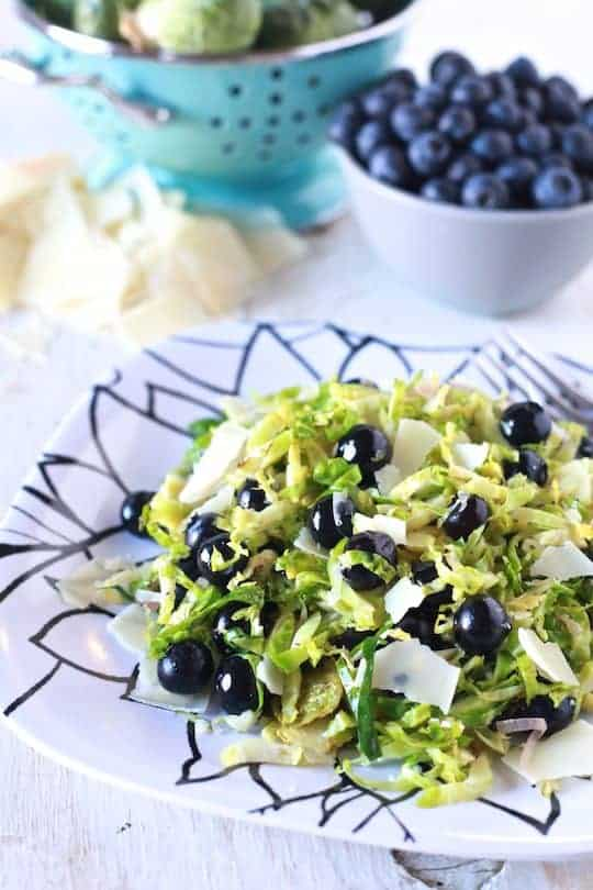 Shaved Brussels Sprouts & Blueberry Salad - TheNoshery.com