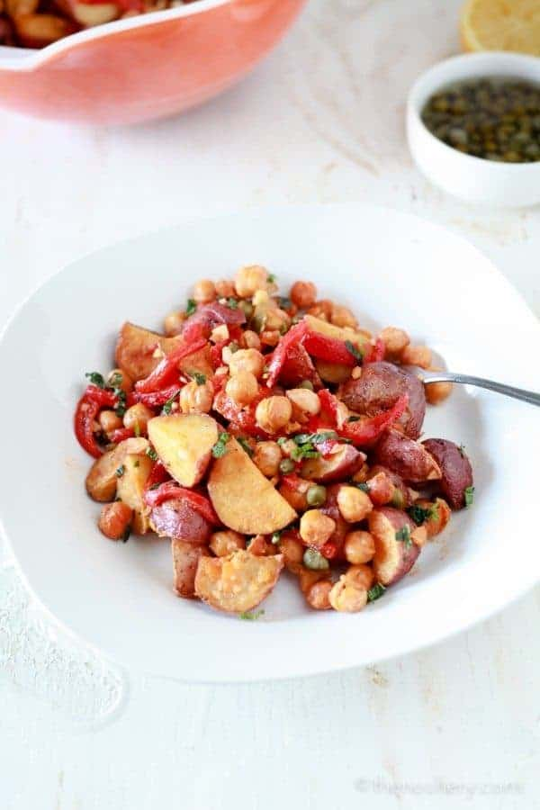 Spanish Roasted Potato Salad with Toasted Chickpeas - TheNoshery.com