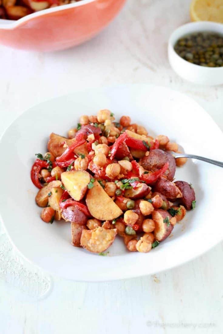 Spanish Roasted Potato Salad with Toasted Chickpeas