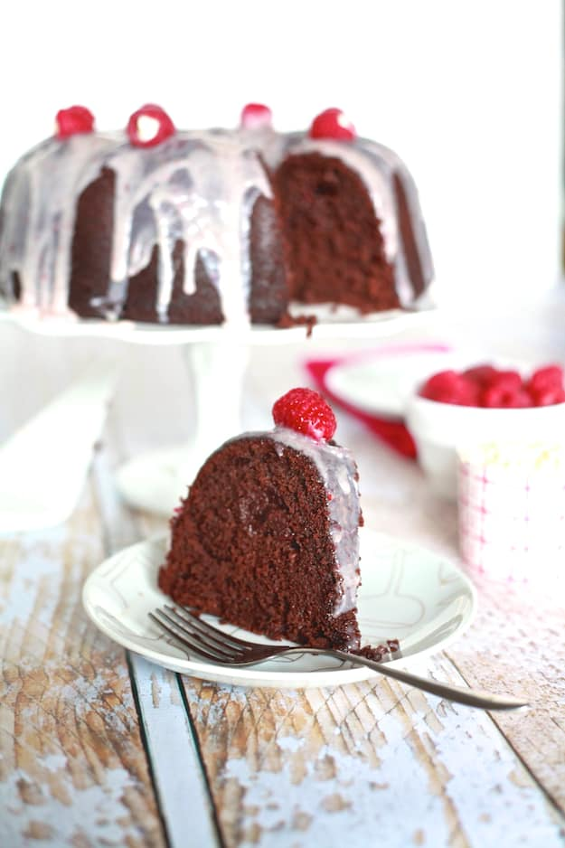 Chocolate Raspberry Bunt Cake