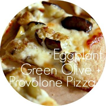 Eggplant, Green Olive Pizza button