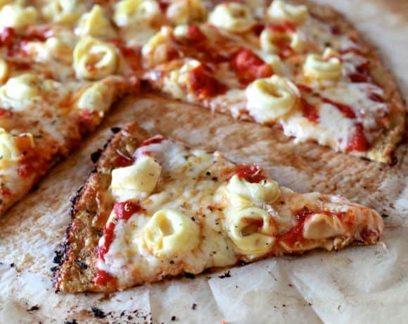 Cauliflower Pizza Crust with Cheese Tortellini